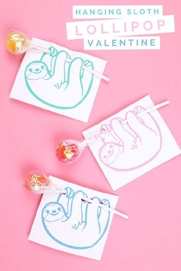 PRINTABLE HANGING SLOTH LOLLIPOP VALENTINE