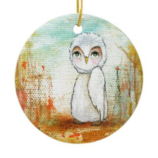 Autumn Joy Whimsical Woodland Owl Art Painting Ornaments