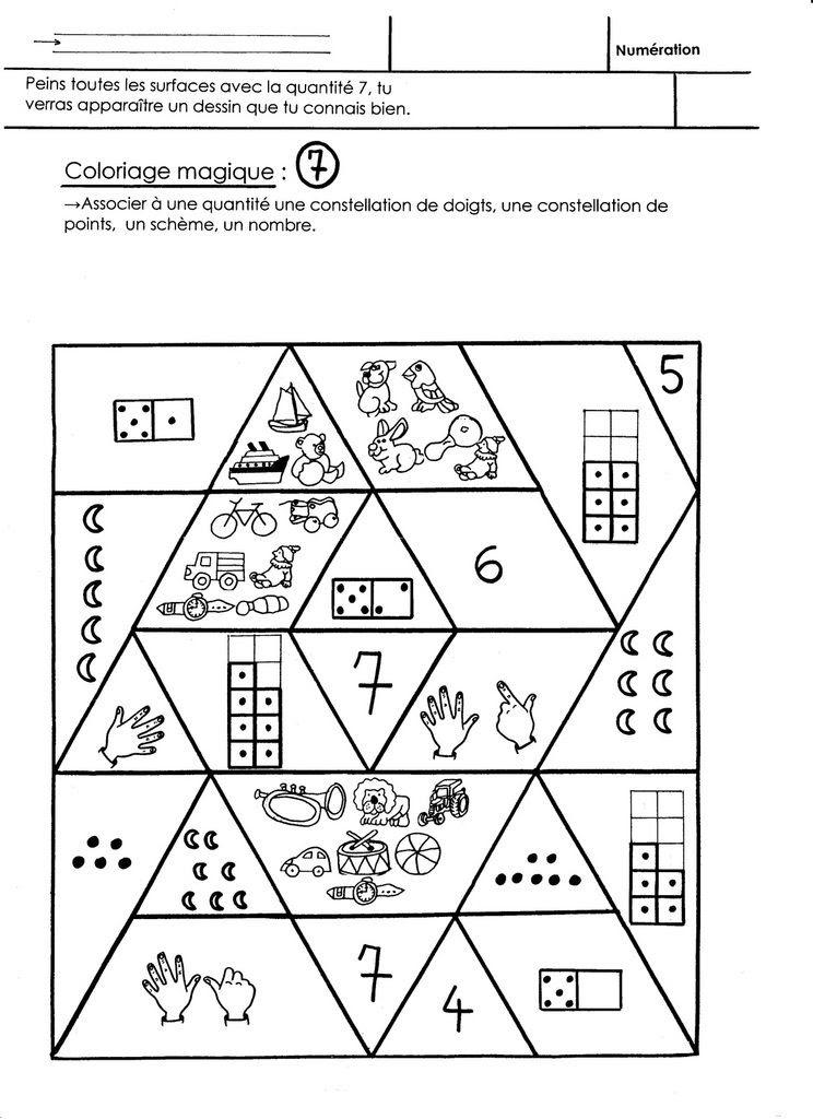Coloriage Magique Noël Quantité 7 école Maternelle Gellow
