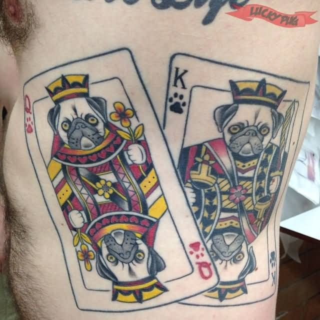 King And Queen Cards Tattoos On Side Rib