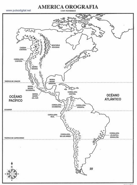 Mapa de América del Norte con división política sin nombres