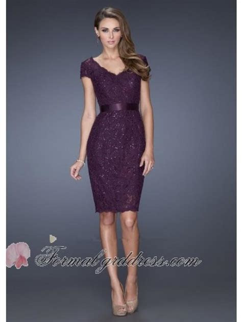 Elegant Short Sleeve Beaded Lace Fitted Wedding Guest
