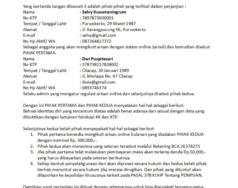 Surat Perjanjian Pinjaman Uang Tanpa Jaminan - Contoh ...