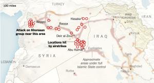 מפת התקיפות בסוריה