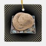 Personalize: Black & gold Sunbeams Photo Template Square Ornament