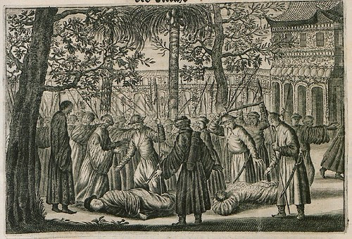 engraving of Chinese mob in 1600s with 2 culprits on the ground