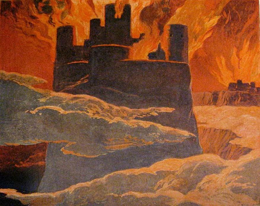 Escena de la última fase de Ragnarök, después de que Surtur haya sumido el mundo en fuego.