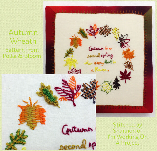 My Autumn Wreath - stitched by Shannon