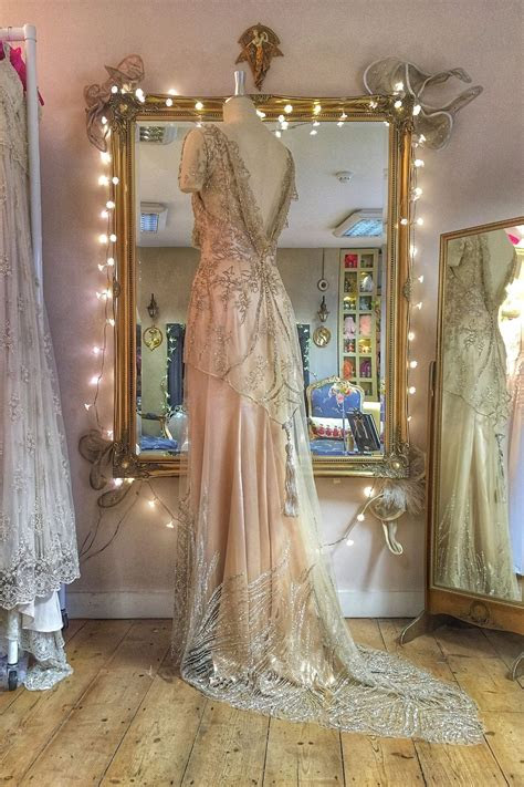 beaded tulle couture wedding dress  pale gold