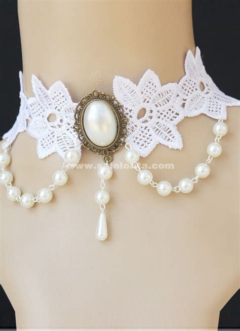 gothic style lace pearl choker necklace ,bridal dress
