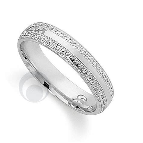 Pretty Patterened Platinum Wedding Ring Wedding Dress from