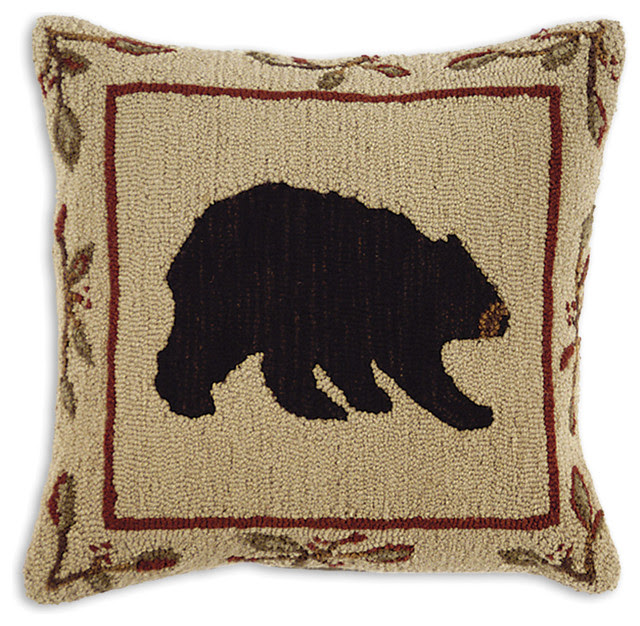 Big Black Bear Hooked Pillow - rustic - holiday decorations - by ...