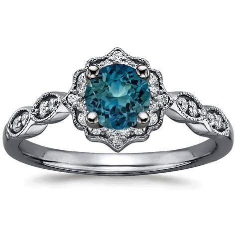 Sapphire Black Rhodium Cadenza Halo Diamond Ring in 18K