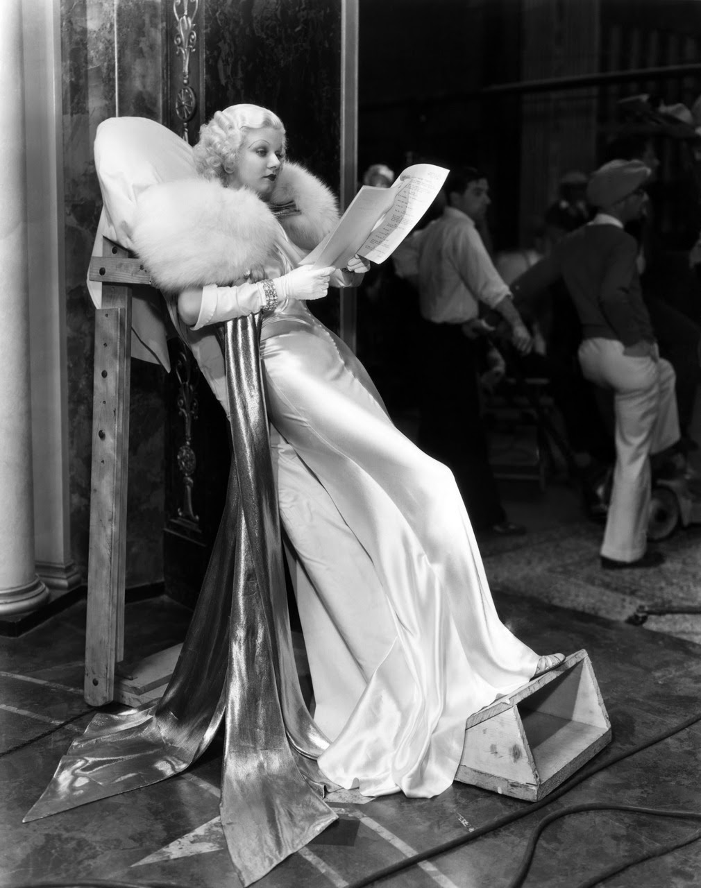 historiful:  Actress Jean Harlow (1911-1937), on the set of George Cukor's film, Dinner at Eight, 1933.