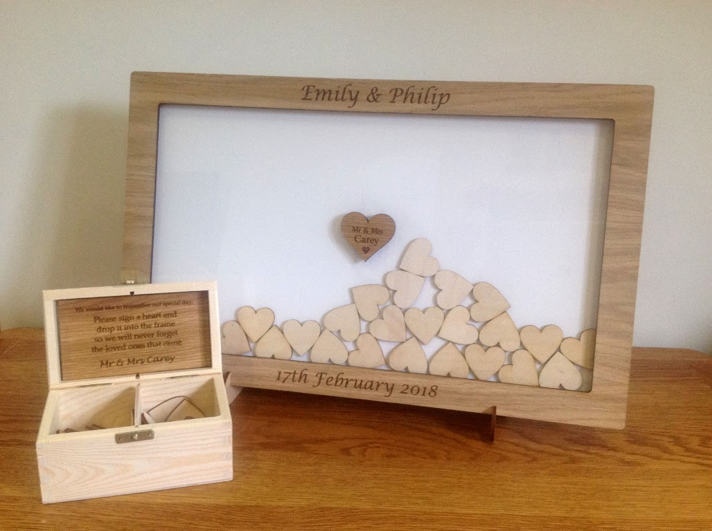 Personalised Drop Box Oak Frame Wedding Guest Book White Sjslaser