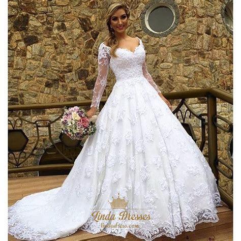 Off Shoulder V Neck Long Sleeve Lace Overlay Wedding Dress