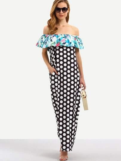 Multicolor Off The Shoulder Polka Dot Ruffle Maxi Dress