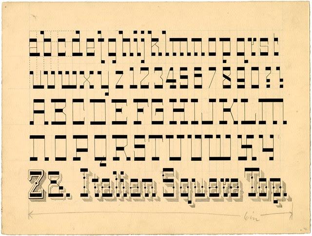 alphabet design in pen and ink of Italian Square Top alphabet