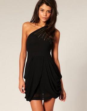 Image 1 ofTFNC Embellished One Shoulder Dress