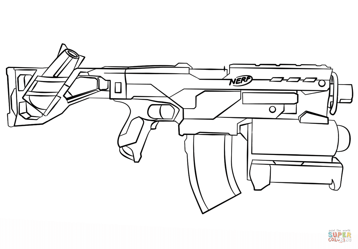 Nerf Gun coloring page | Free Printable Coloring Pages