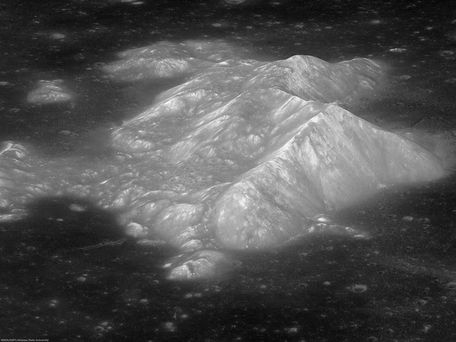 Oblique Close-Up Tsiolskovskiy's Central Peaks