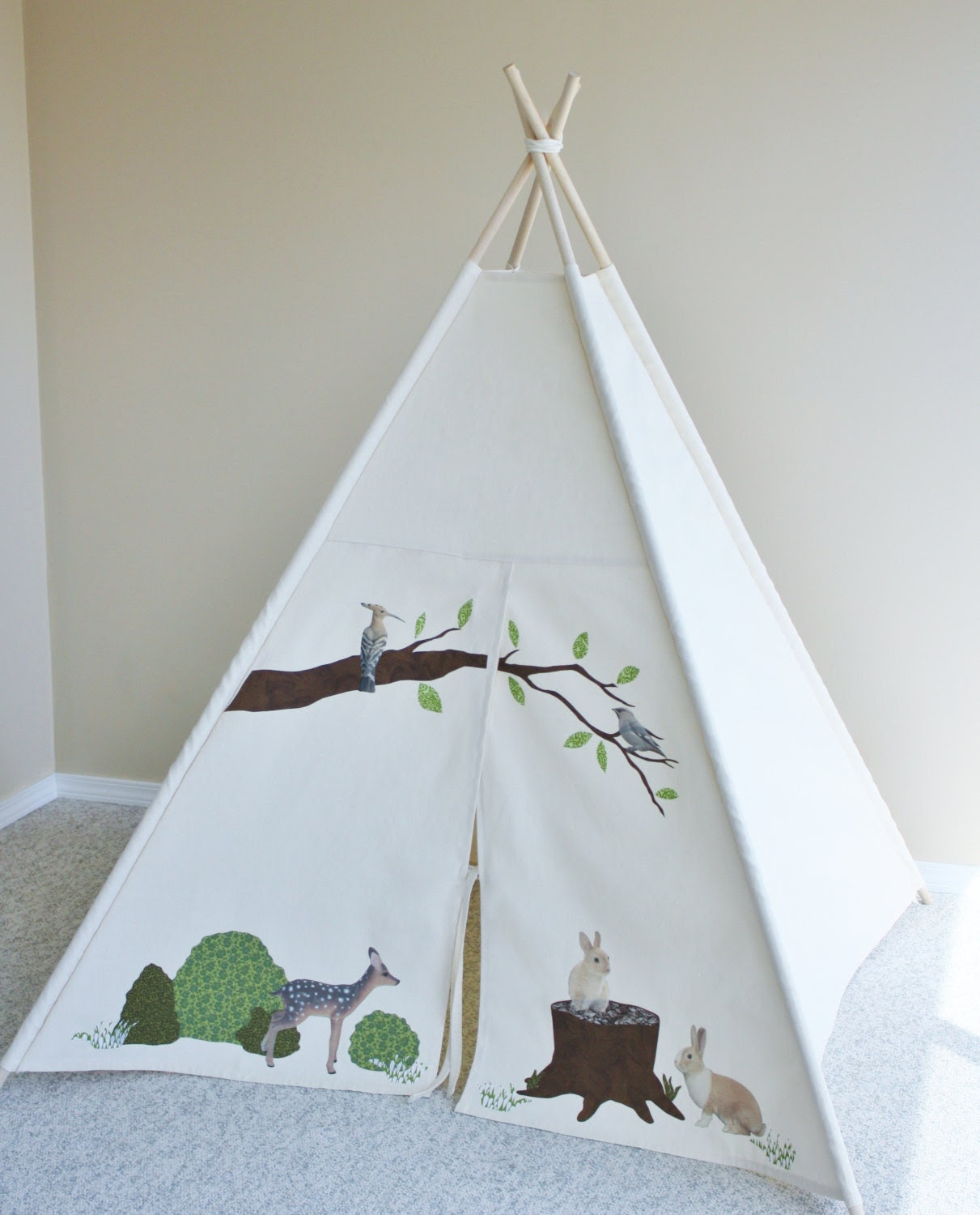 Forest Custom Canvas Play Tent Teepee Prop - AshleyGabby