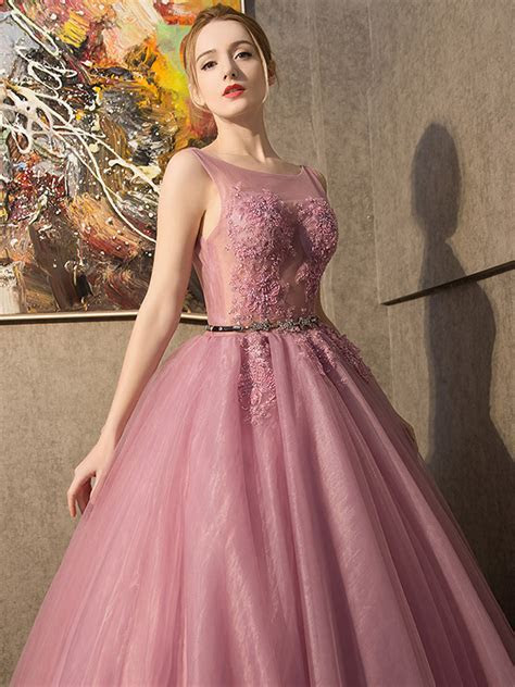 Bateau neck sleeveless floral lace evening gown pink tulle