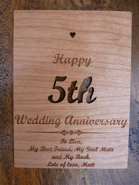 Wooden 5th Wedding Anniversary card ? Personalised Gifts