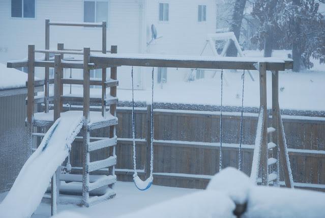 snowy swingset