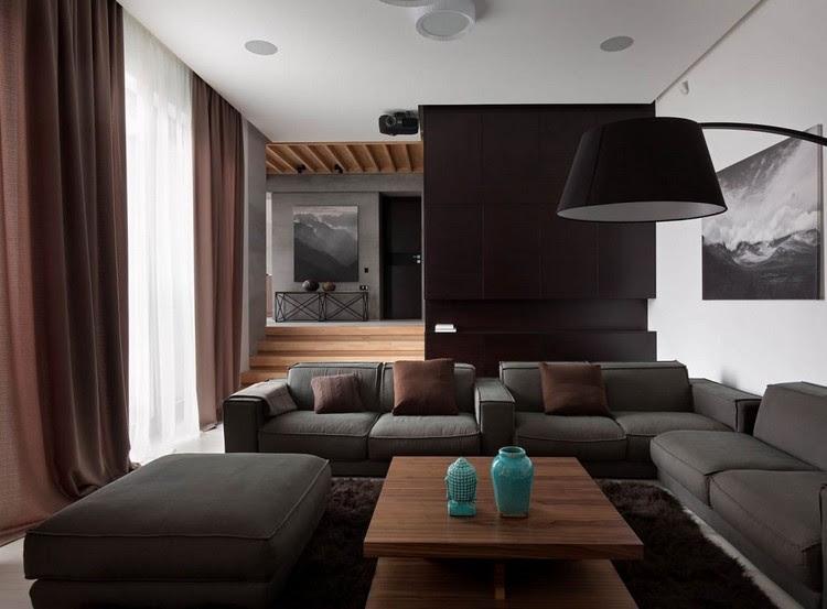wohnzimmer ideen grau und dunkelbraun