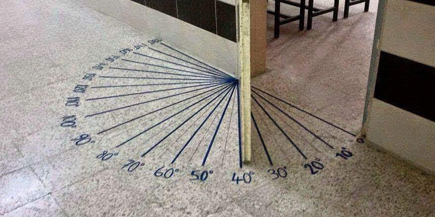 Math classroom door