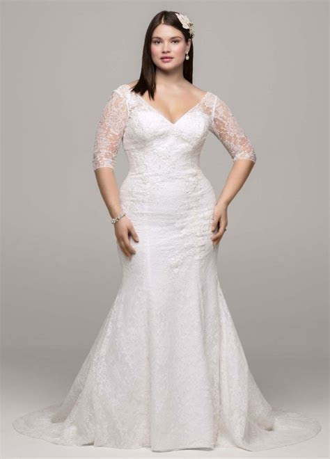 David's Bridal 3/4 Sleeve All Over Lace Trumpet Wedding