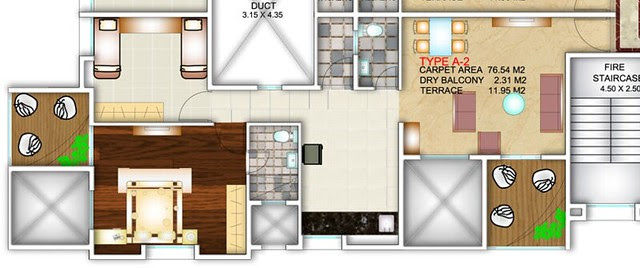 Apex Athena Wakad Pune - 2 BHK Flat - A Type - 848 sq.ft. Carpet + Dry Balcony + Terrace - for Rs. 46.62 Lakhs (approx)
