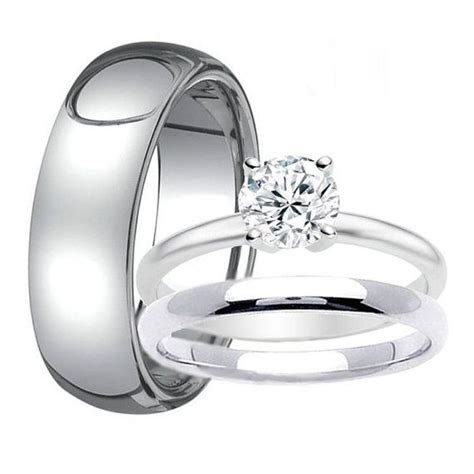 Mens 8mm TUNGSTEN Band for Him & Womens Solitaire