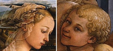 Dettaglio della Madonna e uno degli angeli