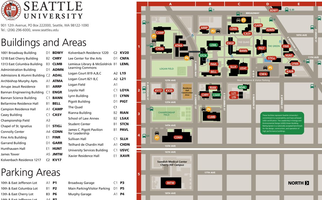 Seattle University Campus Map World Map Gray: Seattle U Campus Map