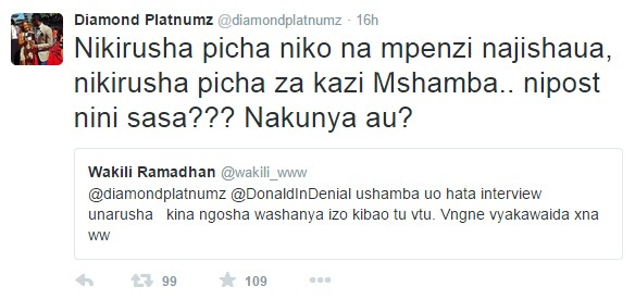 Diamond Twitter June 18 2015 baada ya shabiki kumkasirisha