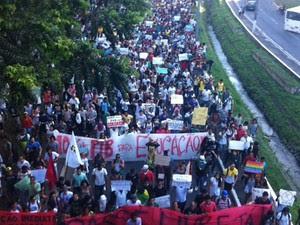 Protesto em sALVADOR (Foto: Egi Santana/ G1)