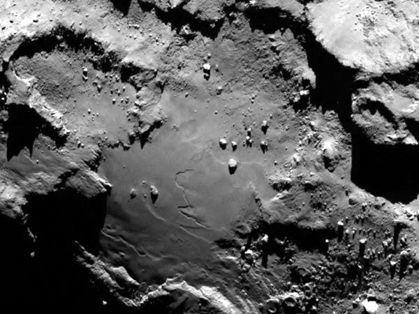 An image of comet 67P/Churyumov-Gerasimenko's nucleus, as seen by ESA's Rosetta spacecraft on August 6, 2014.