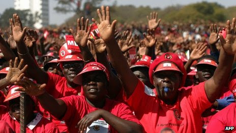 Supporters of the Movement for Democratic Change presidential candidate Morgan Tsvangirai at a rally on 29 July