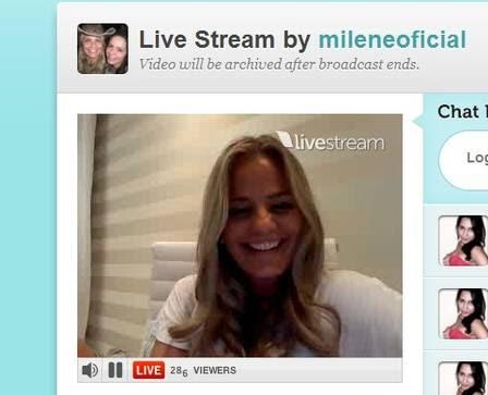Milene conversou com internautas na madrugada desta segunda-feira