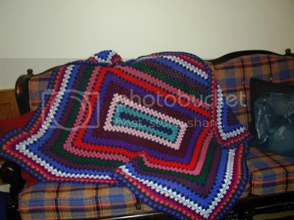 Giant rectangle granny I made for my uncle Frank. I think this is also the very first scrap afghan I ever made.
