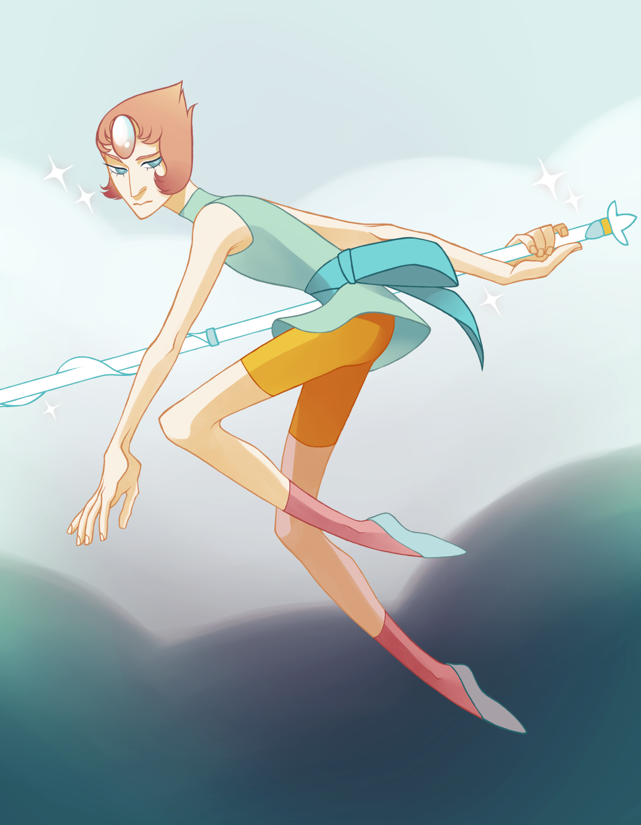 i've been working a lot of overtime lately, which is super draining…. so I needed to draw something self-indulgent. here's a pearl. i relate to her a lot, and also i love girls with swords lmao.