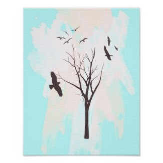 Tree Silhouette With Birds - Poster Print print