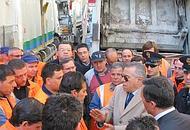 Il blocco nel centro città a Napoli
