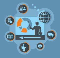 Stock image of webinar icons