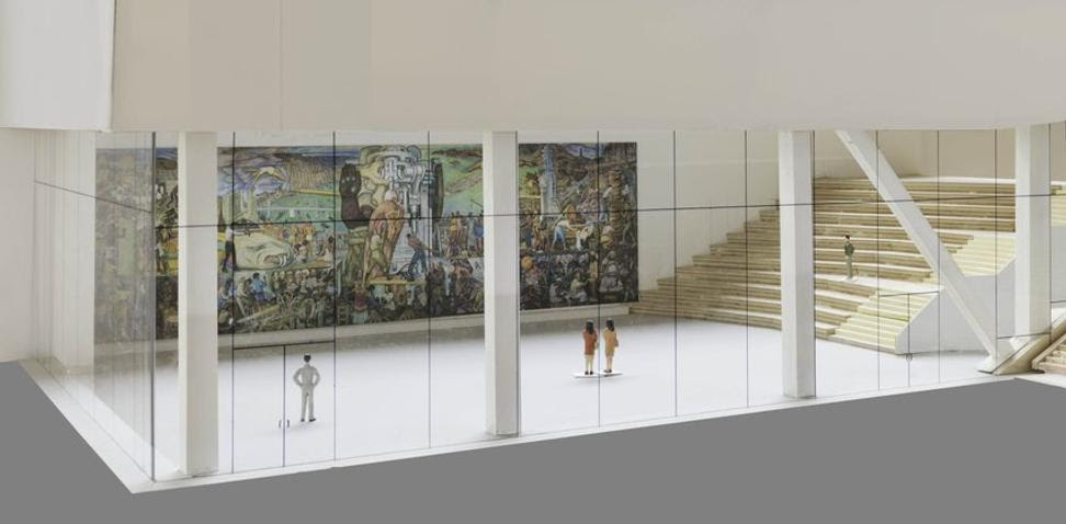 Rendering of Pan American Unity in the Roberts Family Gallery at SFMOMA.  Image: courtesy SFMOMA.