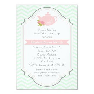 Tea party teapot, chevron pink mint bridal shower invitation