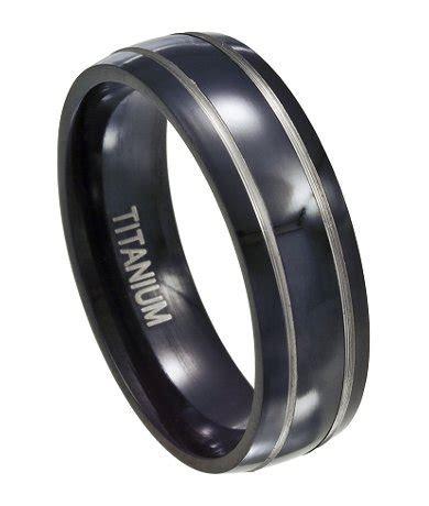 black titanium wedding ring  men silver accent bands mm