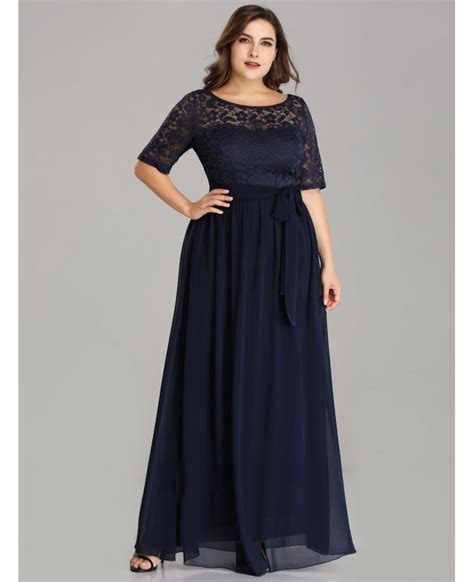 Plus Size Half Sleeves Navy Bridesmaid Dress